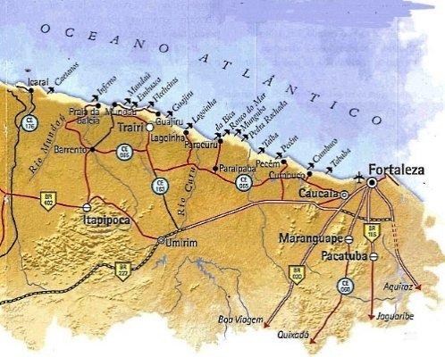 Map of the Sunset Coast Ceara - West Coast Ceara<