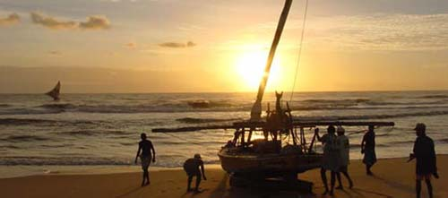 Local Fisherman arrive at sunset.Iguape Aquiraz Fortaleza