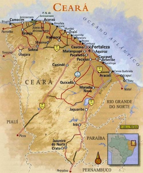 Mapa Praias do Ceará Litoral Oeste