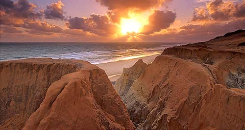 sunset over praia do morro branco